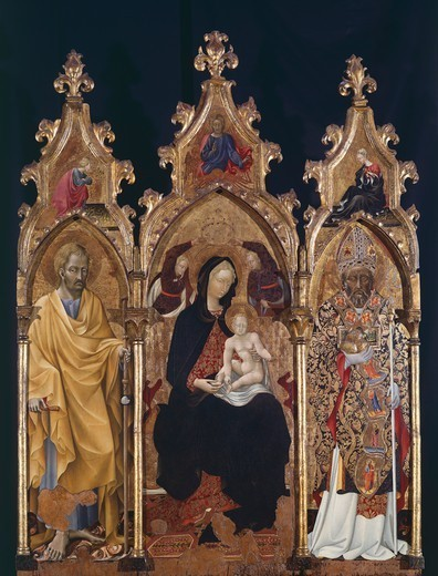 Stock Photo: 1788-44321 Triptych of St Nicholas, ca 1440, by Giovanni di Paolo (ca 1403-1482).