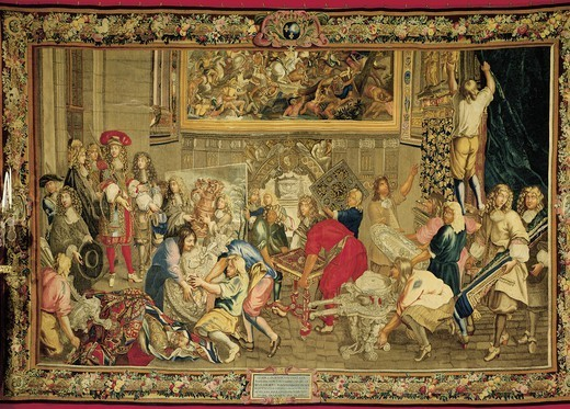 Louis XIV visiting the Gobelins Factory, 1673, by Charles Le Brun (1619-1690), tapestry, 370x576 cm. : Stock Photo