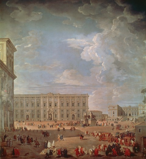 View of the Quirinale and Piazza di Monte Cavallo, 1733, by Giovanni Paolo Pannini (1691-1765), oil on canvas, 270x254 cm. : Stock Photo