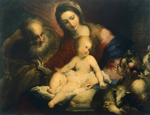The Holy Family, by Valerio Castello (1624-1659). : Stock Photo