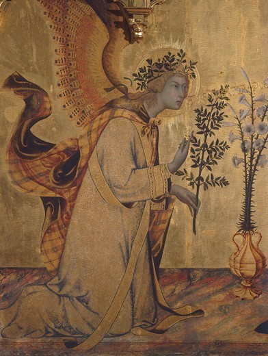 Stock Photo: 1788-44404 The angel Gabriel, detail of the Annunciation with St Ansano and St Massima, 1333, by Simone Martini (1283-1344) and Lippo Memmi (active from 1317 to 1356), painted polyptych stamped in gold leaf, tempera on panel, carved and gilded wood, 265x305 cm.