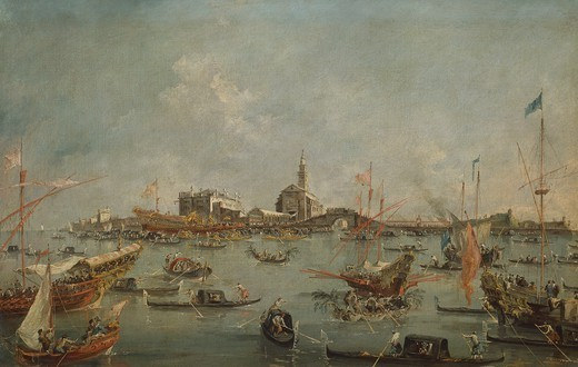 The Bucentaur at St Nicholas on Ascension Day, Venice, 1766-1770, by Francesco Guardi (1712-1770), oil on canvas, 67x101 cm. : Stock Photo