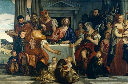 Pilgrims at Emmaus, by Paolo Caliari known as Veronese (1528-1588). : Stock Photo