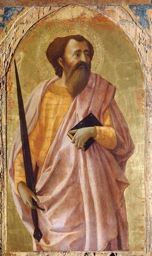 Stock Photo: 1788-44472 St Paul, panel from the Altarpiece of the Church of the Carmine in Pisa, 1426, by Tommaso Masaccio (1401-1428), tempera on panel, 51x30 cm.