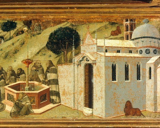 The first Carmelite hermits at the Spring of Elijah, detail from the predella of the altarpiece for the Carmine, Pietro Lorenzetti (ca 1280-1348), tempera and gold on wood. Pinacoteca Nazionale, Siena. : Stock Photo
