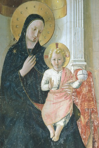 Stock Photo: 1788-44493 Madonna of the Shadows, 1440-1450, by Giovanni da Fiesole known as Fra Angelico (1400-ca 1455), fresco with tempera additions, 195x273 cm. Detail depicting the Madonna and Child. Convent of San Marco, Florence.