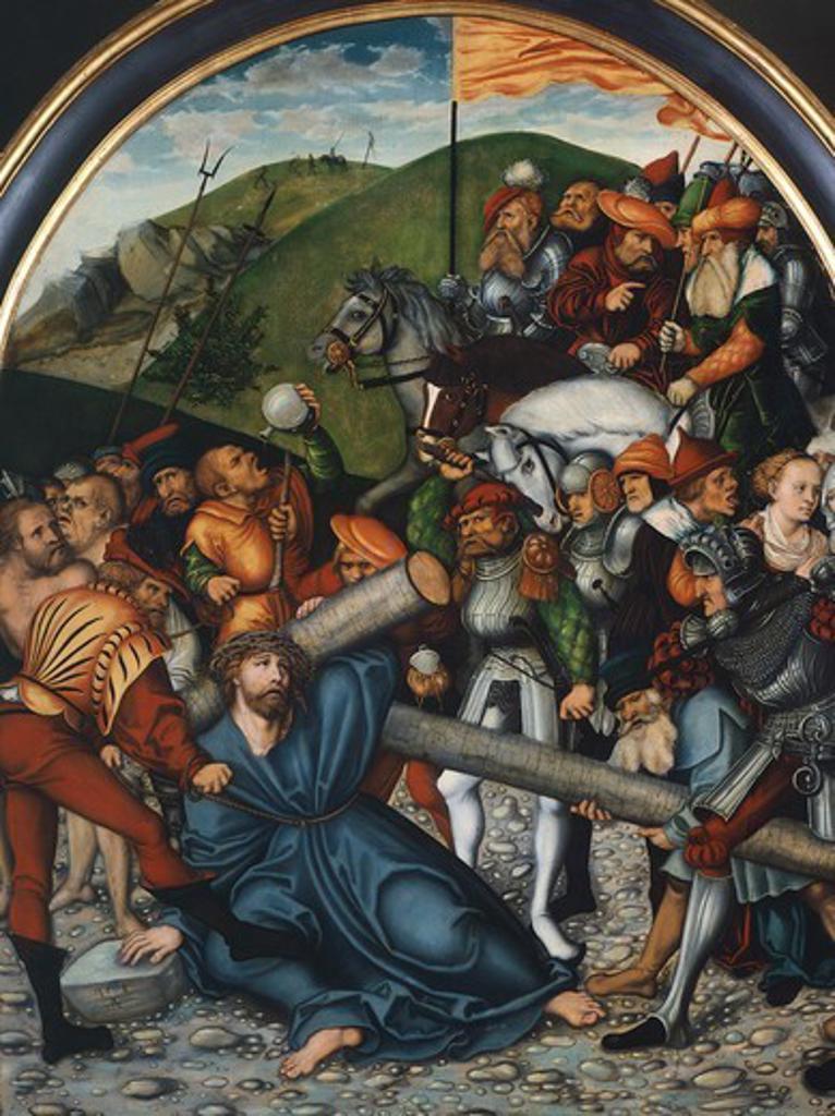 The way to Calvary, by Lucas Cranach the Elder (1472-1553). : Stock Photo
