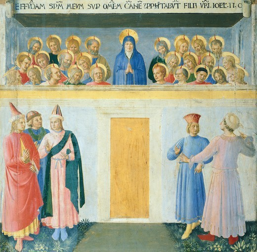 Inset depicting the Pentecost, panel from the Armadio degli Argenti (Silver Chest) with the life of Jesus, 1451-1453, by Giovanni da Fiesole known as Fra Angelico (1400-ca 1455), tempera on wood. : Stock Photo