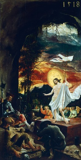 Resurrection, by Albrecht Altdorfer (1480-1538), altar-step of the altarpiece of Church of San Floriano. : Stock Photo