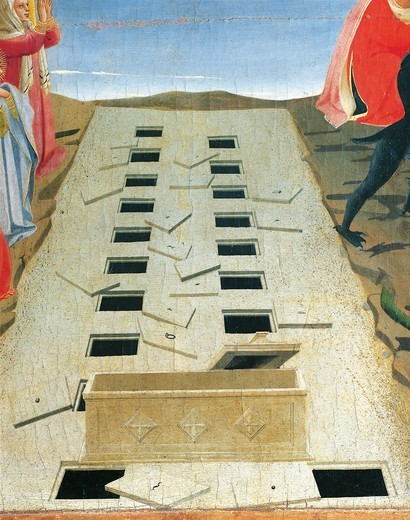Stock Photo: 1788-44522 Tombs and the empty sarcophagus, detail from The Last Judgement, 1431, by Giovanni da Fiesole known as Fra Angelico (1400-ca 1455), tempera on wood, 105x210 cm.