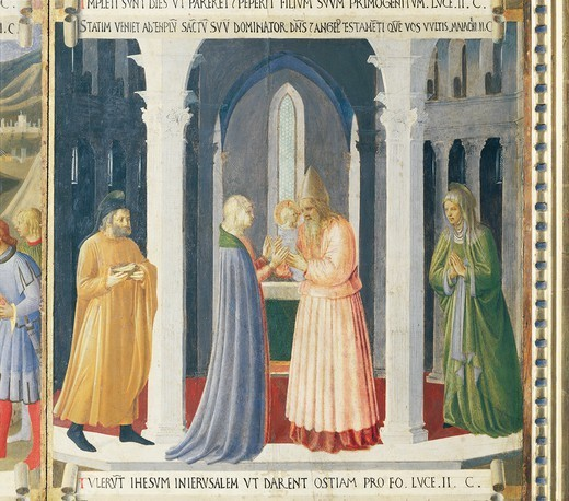 Inset depicting the presentation of Jesus in the temple, panel from the Armadio degli Argenti (Silver Chest) with the life of Jesus, 1451-1453, by Giovanni da Fiesole known as Fra Angelico (1400-ca 1455), tempera on wood. : Stock Photo