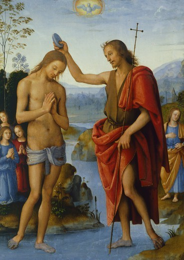 The Baptism of Christ, by Pietro Perugino (ca 1450-1523). : Stock Photo