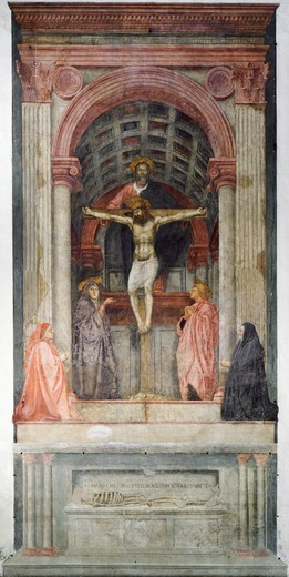 Stock Photo: 1788-44526 Trinity, 1427-1428, by Tommaso Masaccio (1401-1428), fresco, 667x317 cm. Detail. Left aisle of the Church of Santa Maria Novella, Florence.