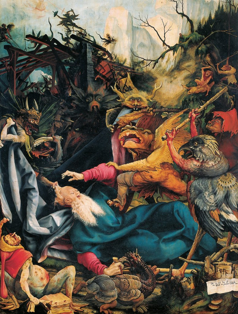 Stock Photo: 1788-44541 The Temptation of St Anthony, 1510-1515, detail from a panel of the Isenheim altarpiece, by Matthias Grunewald (ca 1470-1530).