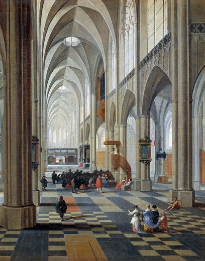 Interior of the Antwerp cathedral, by Peeter Neefs the Elder (ca 1578-between 1656 and 1661). Detail. : Stock Photo