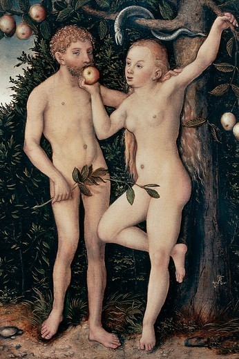 Adam and Eve, 1538, by Lucas Cranach the Elder (1472-1553), oil on panel. : Stock Photo