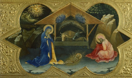 Stock Photo: 1788-44581 Nativity, 1414, scene from the predella of the Coronation of the Virgin, by Lorenzo Monaco (ca 1370-1425), tempera on panel, 32x53 cm.