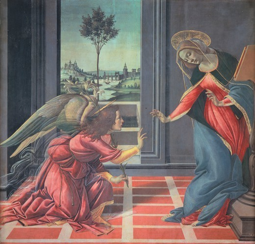 The Cestello Annunciation, 1489-1490, by Sandro Botticelli (1445-1510), tempera on wood, 150x156 cm. : Stock Photo