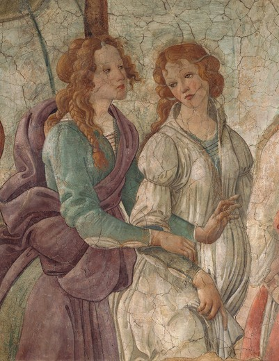 Stock Photo: 1788-44590 Venus and the Graces offering gifts to a girl, 1480-83, by Sandro Botticelli (1445-1510). Detail. Fresco from Villa Lemmi, Florence.