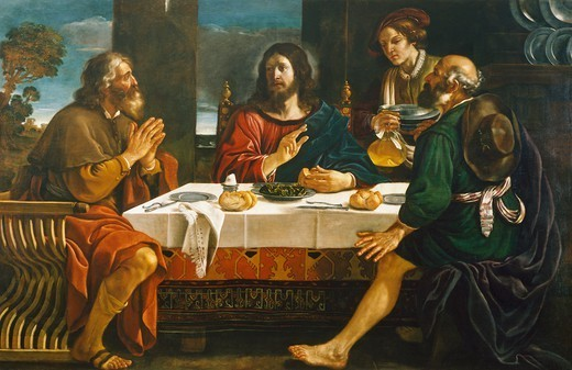 Supper at Emmaus, 1626-1629, by Giovanni Francesco Barbieri, known as Guercino (1591-1666), oil on canvas, 163x256 cm. : Stock Photo