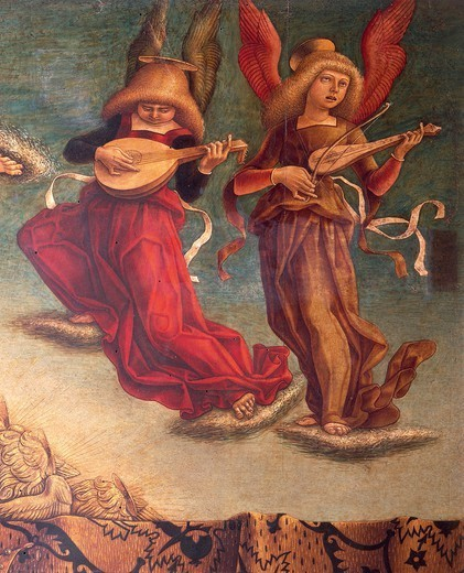 Stock Photo: 1788-44611 Angel musicians, detail fron the Coronation of the Virgin, 1493, by Carlo Crivelli (ca 1430- ca 1495), tempera on wood, 255x225 cm.