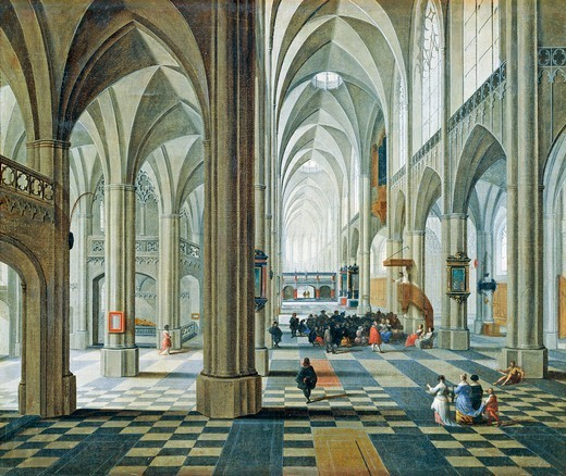 Stock Photo: 1788-44613 Interior of the Antwerp cathedral, by Peeter Neefs the Elder (ca 1578-between 1656 and 1661).