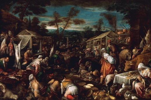 Stock Photo: 1788-44617 The big market, by Jacopo Bassano (ca 1510-1592).