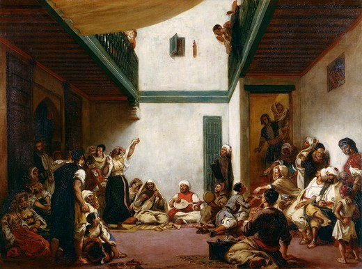 A Jewish wedding in Morocco, 1839, by Eugene Delacroix (1798-1863), oil on canvas, 105x140.5 cm. : Stock Photo