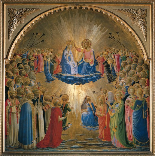 Coronation of the Virgin, 1432, by Giovanni da Fiesole, known as Fra Angelico (1400-ca 1455), tempera on panel, 112x114 cm. : Stock Photo