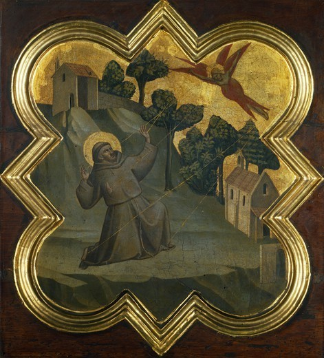 St Francis receiving the stigmata, by Taddeo Gaddi (active from 1322 to 1366), tempera on wood panel. Tile from a closet in the sacristy of the Basilica of the Holy Cross, Florence. : Stock Photo