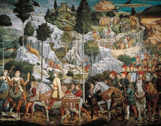 Procession of the Magi Kings to Bethlehem, 1459, by Benozzo Gozzoli (1420-1497), fresco, tempera and oil on wall. Chapel of Palazzo Medici Riccardi, Florence. : Stock Photo