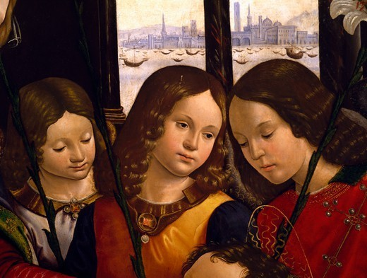 Stock Photo: 1788-44695 Angels, detail from the Madonna with Child and angels, 1490-1499, by Bastiano Mainardi (1466-1513).