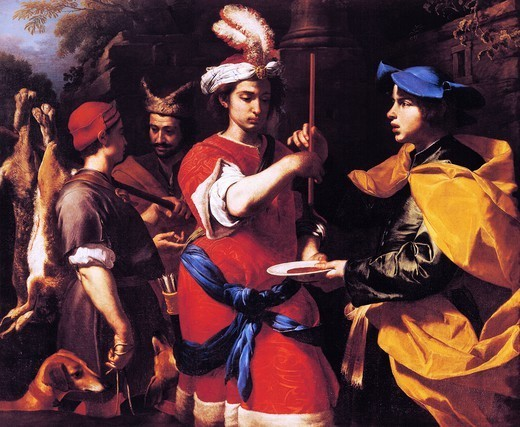 Stock Photo: 1788-44709 Esau sells his birthright to Jacob, by Francesco Guarini (1611-1654), oil on canvas, 127x154 cm.