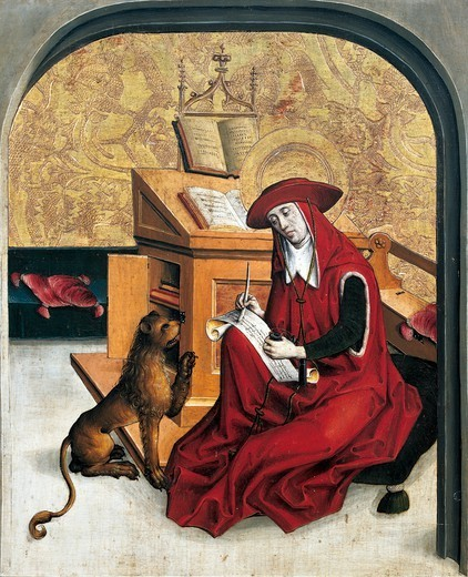 Stock Photo: 1788-44737 St Jerome, panel from Altarpiece of the Doctors of the Church, end of the 15th century, by an artist of the Swiss school.