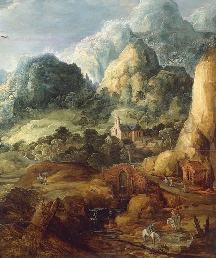 Stock Photo: 1788-44738 Mountain landscape, by Joos de Momper the Younger (1564-1635).
