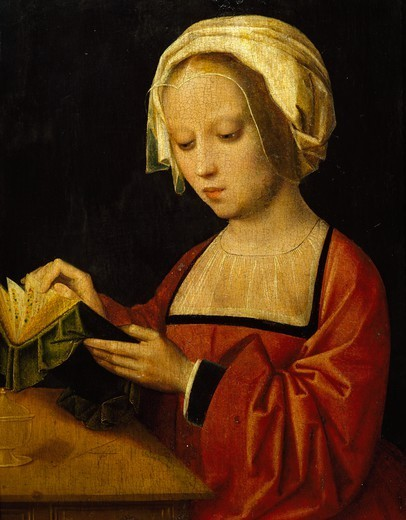 Stock Photo: 1788-44740 St Magdalene reading, by Adrien Ysenbrandt (ca 1500-1551), oil on panel.