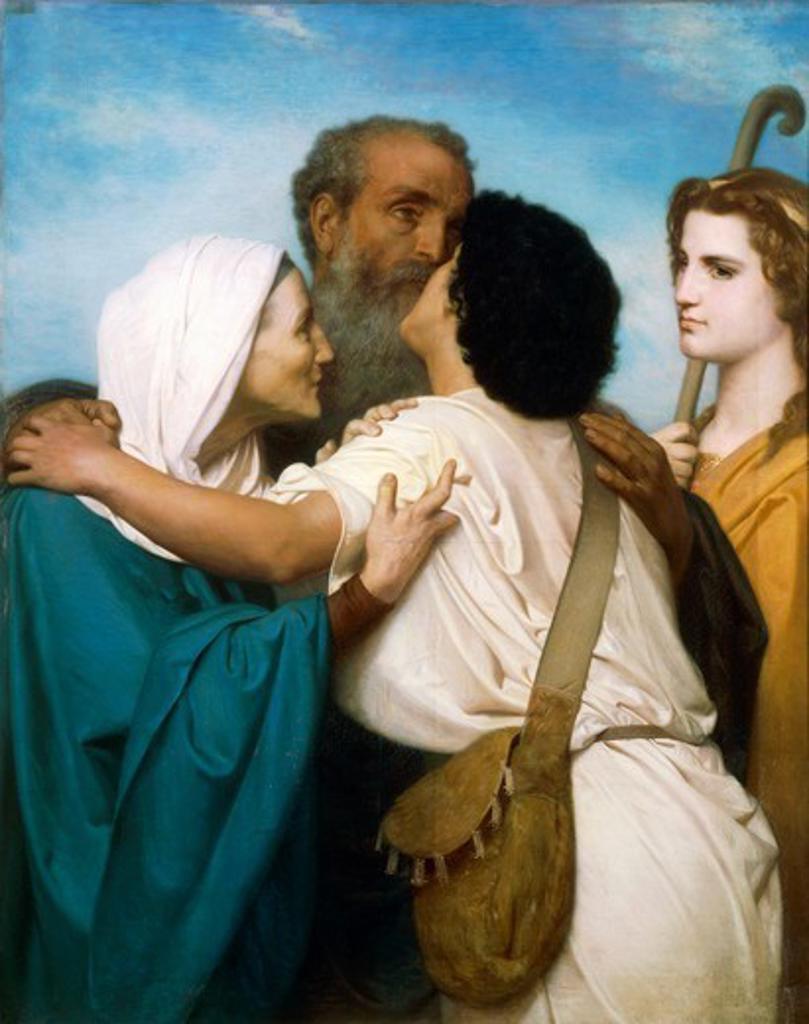 The Return of Tobias, by William-Adolphe Bouguereau (1825-1905). : Stock Photo