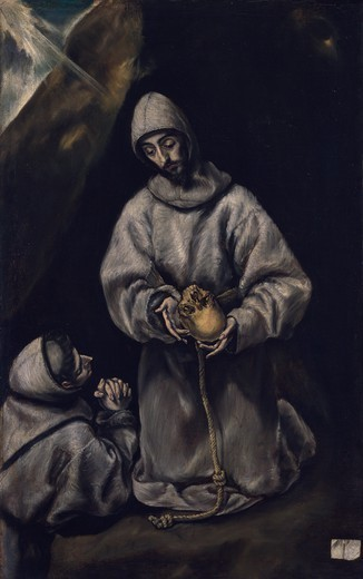 Stock Photo: 1788-44758 St Francis and brother Leo meditating on death, by El Greco (1541-1614), oil on canvas, 108x66 cm.