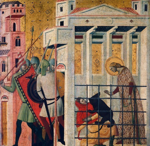 Stock Photo: 1788-44763 St Columba being saved by a bear, detail from the Three Stories of Saint Columba, 14th century, by Giovanni Baronzio (active 1343-1345). Tempera on panel, 53x55 cm each compartment.