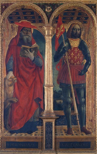 Stock Photo: 1788-44770 St Jerome and St Alexander, side compartment of the Altarpiece of Santa Maria delle Grazie, by Vincenzo Foppa (ca 1427-ca 1515).