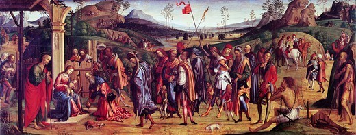 Adoration of the Magi, 1499, by Lorenzo Costa (1460-1535), oil on canvas, 75x181 cm. : Stock Photo