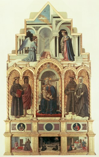 St Anthony Altarpiece, 1467-1469, by Piero della Francesca (1412-1492), oil on canvas, 338x230 cm. : Stock Photo