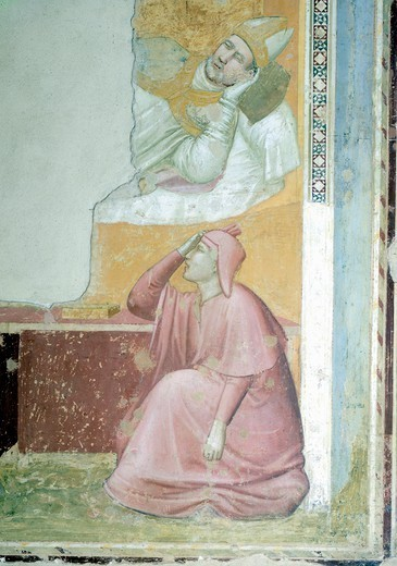 Stock Photo: 1788-44778 Apparition of St Francis to Bishop Guido of Assisi, 1325-1330, by Giotto (1267-1337), fresco. Detail. Basilica of Santa Croce, Bardi Chapel, Florence.