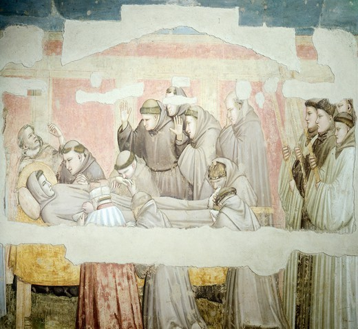 The Mourning of St Francis, 1325-1330, by Giotto (1267-1337), fresco. Basilica of Santa Croce, Bardi Chapel, Florence. : Stock Photo