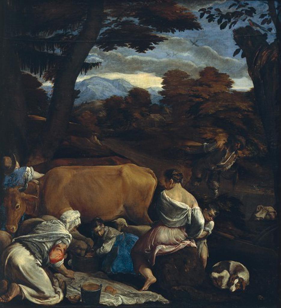 Pastoral Scene, 1560, by Jacopo Bassano (ca 1510-1592), oil on canvas, 139x129 cm. : Stock Photo