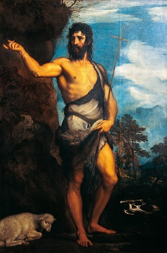Stock Photo: 1788-44786 St John the Baptist, 1542, by Titian (ca 1490-1576), oil on canvas, 134x201 cm.