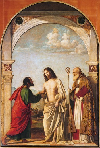 Doubting Thomas with the bishop Magno, 1505, by Giovanni Battista Cima da Conegliano (1459-1517), tempera and oil on panel, 215x151 cm. : Stock Photo