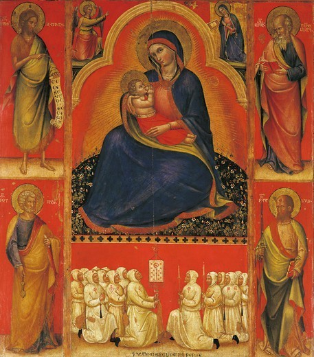 Stock Photo: 1788-44802 Madonna with Child and Saints, by Giovanni da Bologna (14th century).