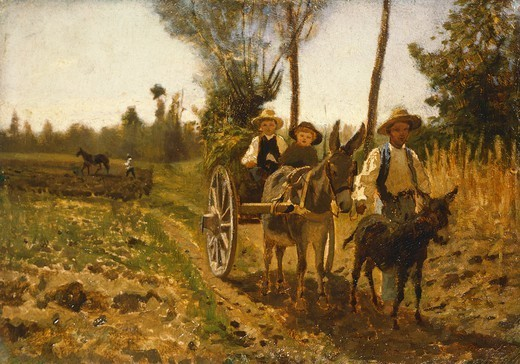 Returning from the fields, by Guglielmo Ciardi (1842-1917). : Stock Photo