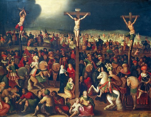 The Calvary, by Frans Francken II (1581-1642), oil on canvas, 72x105 cm. : Stock Photo